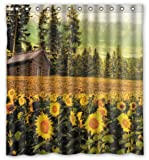 "Happy Shopping Go Custom Yellow Sunflowers All Around Waterproof Bathroom Fabric Shower Curtain 66"" x 72"""