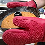 Silicone Oven Mitts, 1 Pair (2 x Dark Red Mitt), Deluxe Quilted Liner, Bonus Brush *