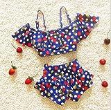 ツバメ--屋 ベビー水着 女児水着樱桃 ビキニ スイミングウェア キッズ水着 子供用 非常にオシャレ、樱桃トップス、パンツ2点セット (xs, ダーク ブルー) ランキングお取り寄せ
