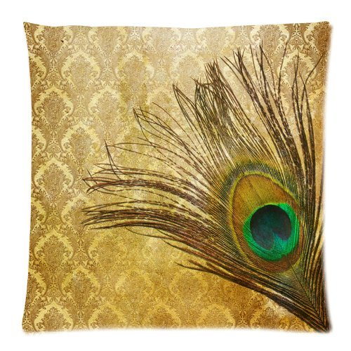 Home Decor Personalized Beautiful Peacock Bird Tail Feathers Zippered Throw Pillow Cover Cushion Case 20X20 (Two Sides) front-1064510