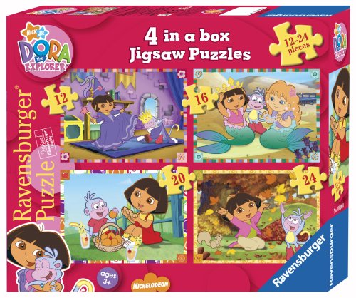 Ravensburger Dora the Explorer 4 in a Box Jigsaw Puzzles (12, 16, 20 and 24 Pieces)