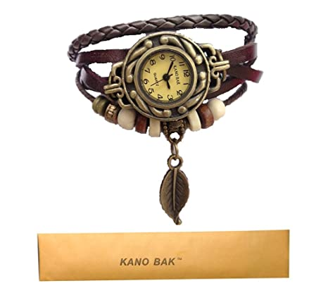 Kano-Bak-Women-Quartz-Fashion-Weave-Wrap-around-Leather-Bracelet-Wrist-Watch