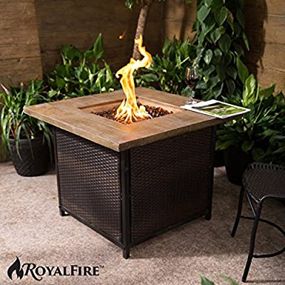 Royalfire Rfjc34501gf-mb Rattan And Fibreglass Square Gas Fire Pit - Mixed Brownnatural Stone from Cozy Bay