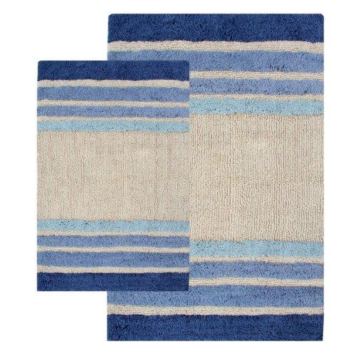 Chesapeake Merchandising 2 Piece Tuxedo Stripe Bath Rug