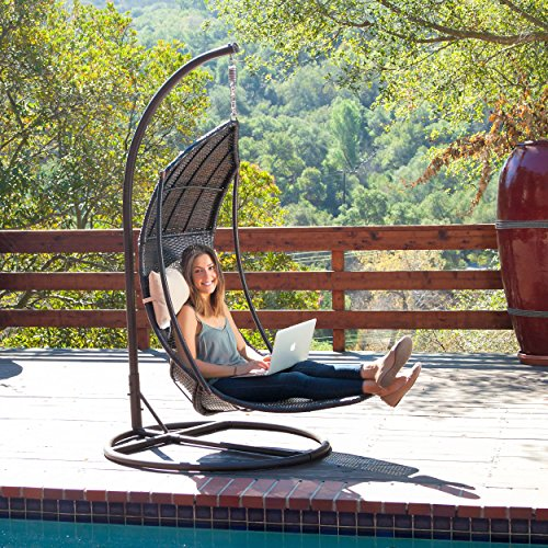 Outdoor Brown Wicker Hanging Swing Chair with Cushions