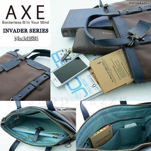 AXE アックス ビジネスバッグ メンズ 牛革 綿 バイカラ― インベーダーシリーズ ブラック×レッド 【No.141531】