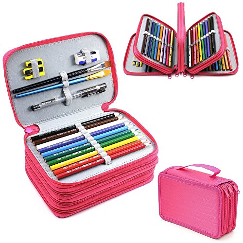4 Layers High Capacity Pencil Brush Case Box Pen Pouch Bag Makeup Storage Bag Hot Pink (Ice Cream A Global History compare prices)