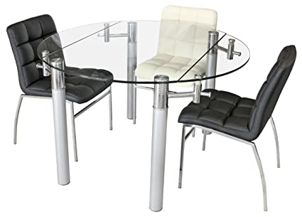Alicia Extending Glass Dining Table - Clear tempered glass top