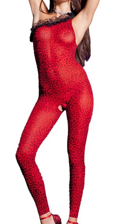 Smile YKK Dessous Set Einheit Erotik Leopard Spritz Jumpsuit Strümpfe Rot günstig