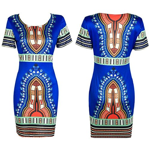 Orangesky Women Traditional African Print Dashiki Bodycon Short Sleeve Dress (XL, Blue)