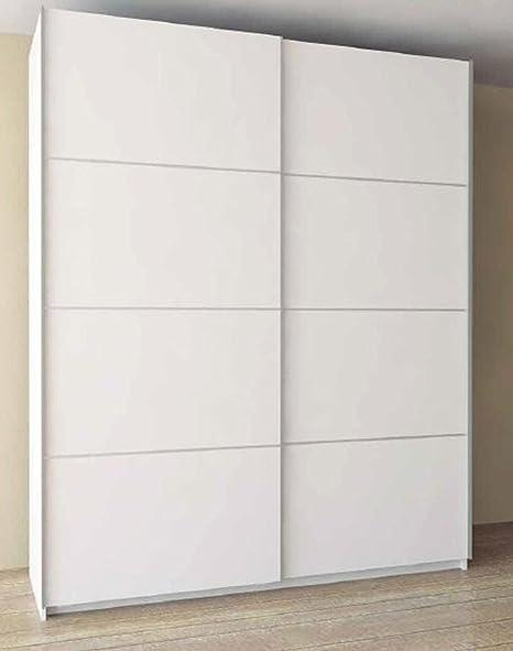 Armoire avec 2 portes coulissantes coloris blanc - Dim : 150 x 60 x 220 cm