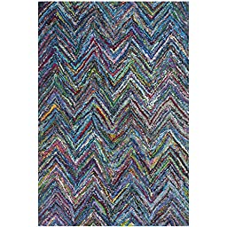 Safavieh Nantucket Collection NAN141C Handmade Abstract Chevron Blue and Multi Cotton Area Rug (2\'3\