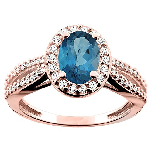 14ct Rose Gold Natural London Blue Topaz Ring Oval 8x6mm Diamond Accent 7/16 inch wide, size R