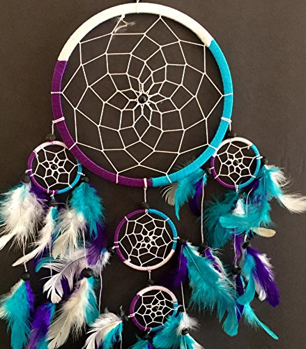 "OMA Dream Catcher - Hand Crafted Traditional Tie Dye Colors Turquoise, Purple & White Feathers - 7"" Diameter & 25"" Long - OMA FEDERAL (TM) BRAND"