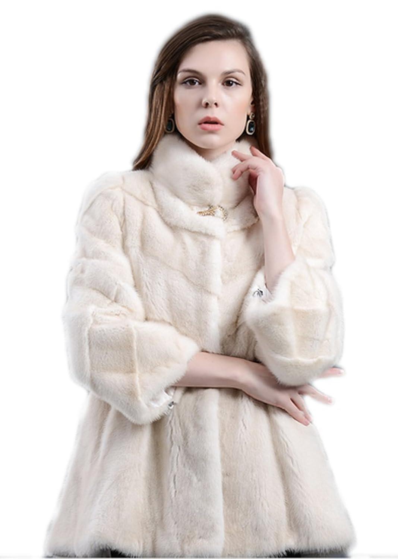 YR.Lover Damen wirklich Nerz Pelz Mantel&Jacke Mit Stand Kragen