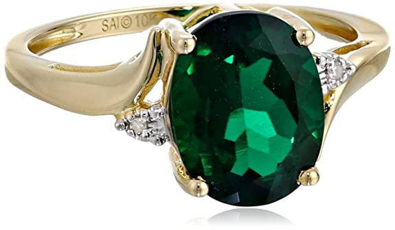10k-Yellow-Gold-Created-Emerald-and-Diamond-Oval-Ring