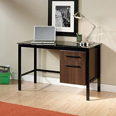 NEW Sauder Furniture 414416 Select Venture Modern Office Black Glass Top Desk