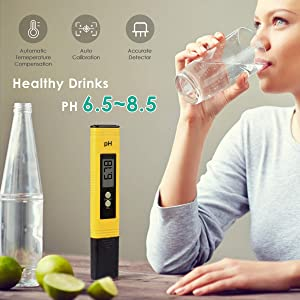 Digital PH Meter, PH Meter 0.01 PH High Accuracy Water Quality Tester with 0-14 PH Measurement Range for Household Drinking, Pool and Aquarium Water PH Tester Design with ATC (Color: 2020NewYellow)