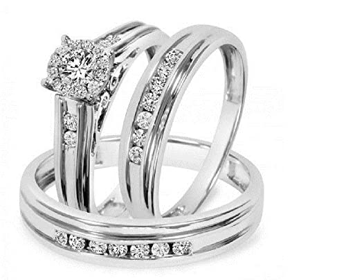 Vorra Fashion 3/4 Tdw CZ Trio Matching Wedding Ring Set White Platinum Plated 925 Silver