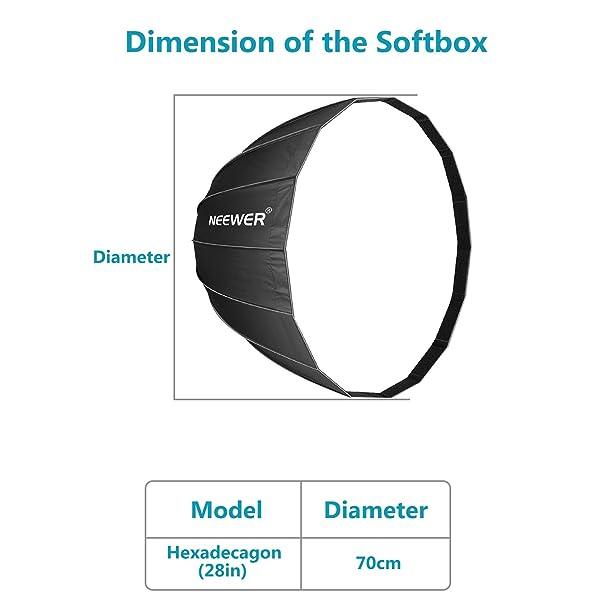 NEEWER SOFTBOX PARABÓLICO PROFUNDO DE 28 PULGADAS CON MONTAJE BOWENS, difusor y rejilla extraíbles internos y externos, difusor softbox plegable rápido para fotografía