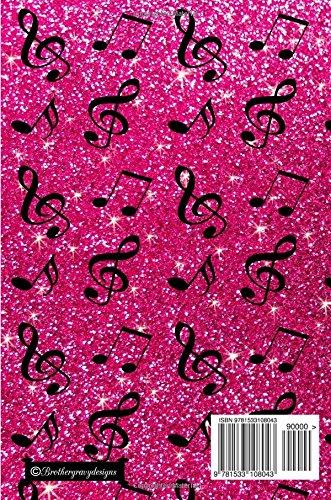 Journal: Faux pink glitter music notes notebook