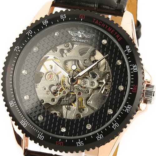 ESS Men's Black Leather Luxury Rose Gold Case Skeleton Self-Wind Up Mechanical Automatic Watch WM096