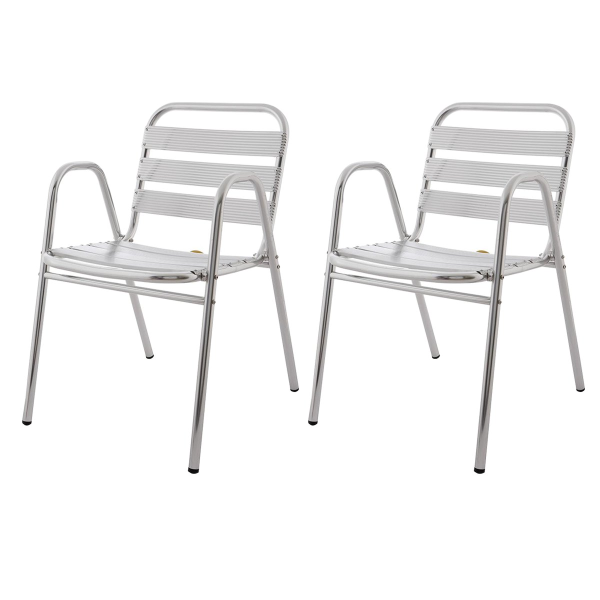 2x Gartenstühle alu AOSTE - Bistro-Stühle alu - Terrassenstühle - Farbe: Aluminium