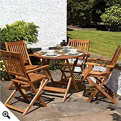 Round 4 Seater Wooden Table & Chairs Set With Folding Armchairs - This 5 Piece Wood Garden Furniture Set Makes A Perfect Addition To Any Gardens or Patio