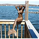 "48"" Sitting Sunning Mermaid Statue Iron Rust Finish"