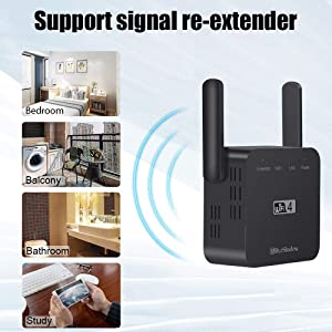 Blueshadow WiFi Range Extender - Dual Band 2.4G/5G High Speed Signal Booster 300Mbps | Wi-Fi Amplifier Repeater with WPS | External Antennas & Compact