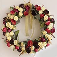 Rose Wreath Silk Floral Home Wall Decor