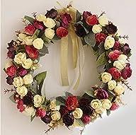 Rose Wreath Silk Floral Home Wall Decor