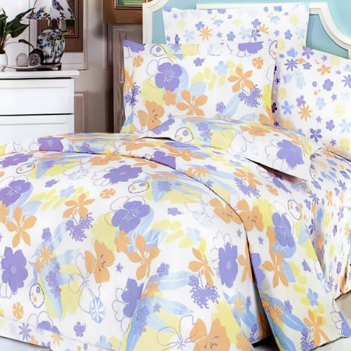 Blancho Bedding - [Purple Orange Flowers] Luxury 7PC Bed In A Bag Combo 300GSM (Queen Size)