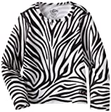 Hot Chillys Girl's Originals II Print Crewneck Tee, Zebra, XX-Small