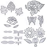 Metal Die Cuts Cutting Dies Flower Leaves Butterfly Bowknot Embossing Stencil Template for Card Scrapbooking and DIY Craft 6 Set 21 PCS