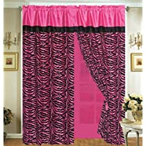 Hot Pink with Black Faux Silk Zebra Window Curtain And Drape Set with Sheer Backing