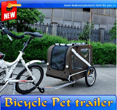 Frugah Large Portable Pet Dog Bicycle Bike Trailer Folding Carrier Brow Black