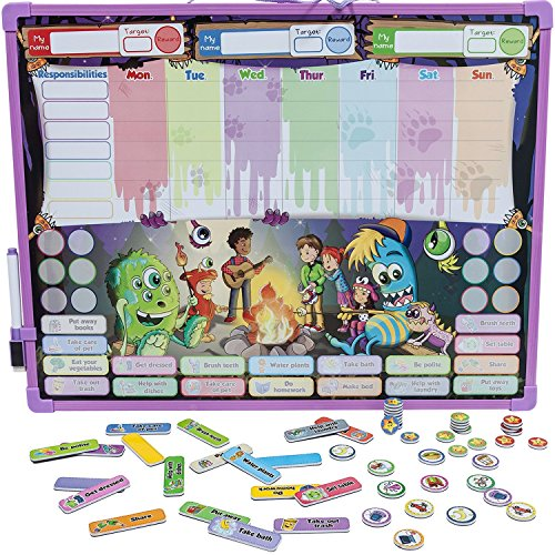 Monsters Reward & Responsibility Chore Chart | Multiple Children | Magnetic Dry Erase Board | Improved Behavior | Star Incentive by Kid Rockett (Monsters | Multiple) (Chore Chart Multiple Kids compare prices)