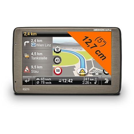 """MEDION goPal e5270 (mD 99234 12,7 cm (5 """") avec écran tactile, europe, tMC, stauradar eco expert nahes parking, fahrspurassistant, goPal mE 7,5 cm-gris titane)"""