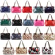 LADIES DESIGNER BLACK OILCLOTH POLKA DOTS TOTE SHOPPER SHOULDER DAY BAG