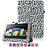 """Fintie Kindle Fire HDX 8.9 Folio Case Slim Fit Leather Cover (will fit Amazon Kindle Fire HDX 8.9"""" Tablet 2014 4th Generation and 2013 3rd Generation) - Leopard Rainbow"""
