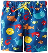 Little Me Baby-boys Infant Multi Fish Swimtrunk, Blue Print, 18 Months