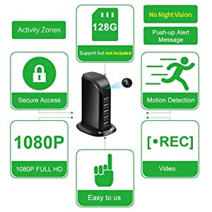 Hidden Camera Spy Camera, WiFi Hidden Camera with Remote Viewing, Hidden Cameras 1080P Video Recorder Wireless Nanny Camera for Home Security with Motion Detection 2019 Upgraded Version (Color: Black, Tamaño: Small)