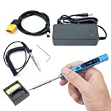 NovelLife 65W Mini TS100 Electric Soldering Iron Kit,Adjustable Temperature,Programmable STM32 Chip,Digital OLED Screen Display with TS B2 Solder Tip,Power Supply,XT60 Power Cord (Blue BC2 Tip) (Color: Blue BC2 Tip)