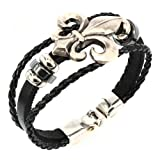 Aprilsky Women's Unisex Jewelry Leather Bracelet Fleur De Lis Charm Bangle Bracelet Black (Color: #9 Fleur De Lis Charm)