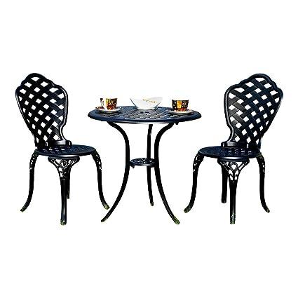 Aluminium 3er Set Gartenmöbel 2 Stuhle + Tisch Schwarz Antik Sitzgarnitur Bistro