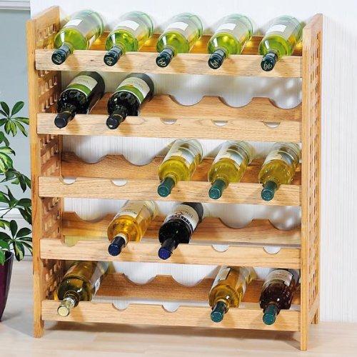 Kesper 66105 Weinregal für 25 Flaschen, Maße: 63 x 25 x 73 cm, aus Walnussholz