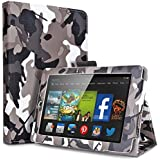 Amazon Kindle Fire HD 6 2014 Case Camouflage Black & Gray - Slim Folding Cover Case for Amazon Kindle Fire HD 6 Inch 2014 Tablet With Smart Cover Auto Wake Sleep