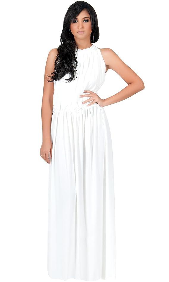 KOH KOH Women's Slimming Key Hole Sleeveless Maxi Dress