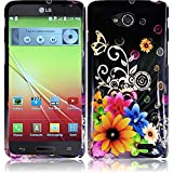 Premium Vivid Design Snap-on Protector Hard Cover Case For LG OPTIMUS L90 (D415) (US Carrier: T-Mobile) + Car Charger + 3.5MM Stereo Earphones + 1 of New Assorted Color Metal Stylus Touch Screen Pen (Yellow Pink Chromatic Flower Black Silver Butterfly)